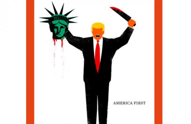Немецкий журнал представил на обложке Трампа с ножом и головой статуи Свободы в руках