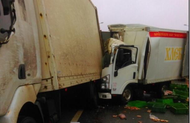 Хлеб разбросало по Московскому шоссе после ДТП