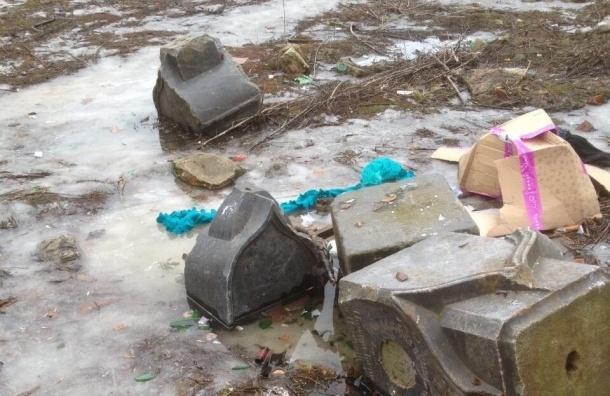 Старинные надгробия среди мусора и снега нашли в центре Петербурга