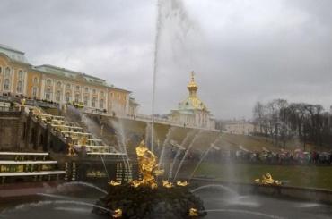 Открытие фонтанов в холодном Петергофе