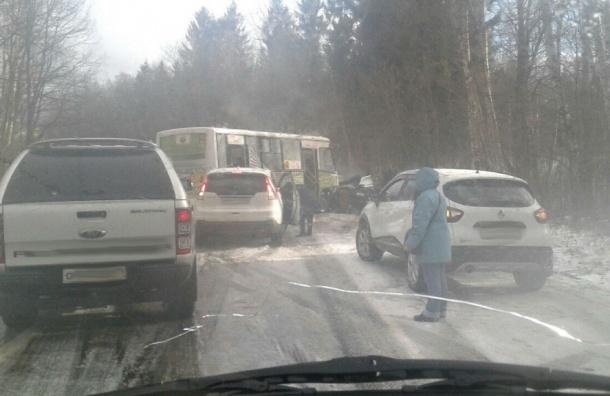 Шесть человек пострадали при ДТП на Приозерском шоссе