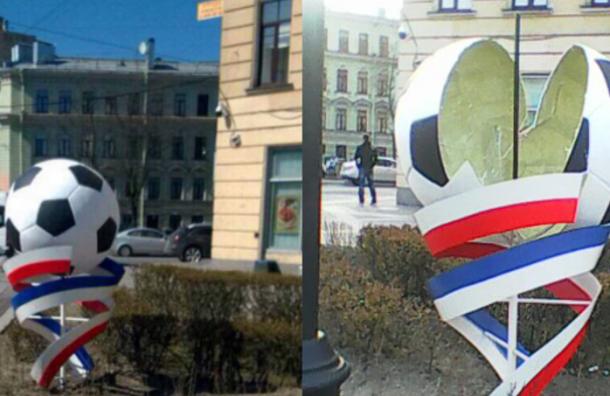 Вандалы в Петербурге разрушили украшения, установленные к Кубку конфедераций FIFA