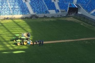 На новом стадионе в Петербурге срезают газон