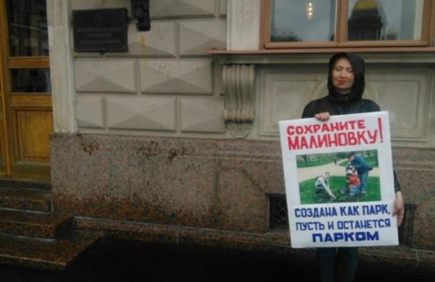 ЗакС пикетируют защитники парка Малиновка