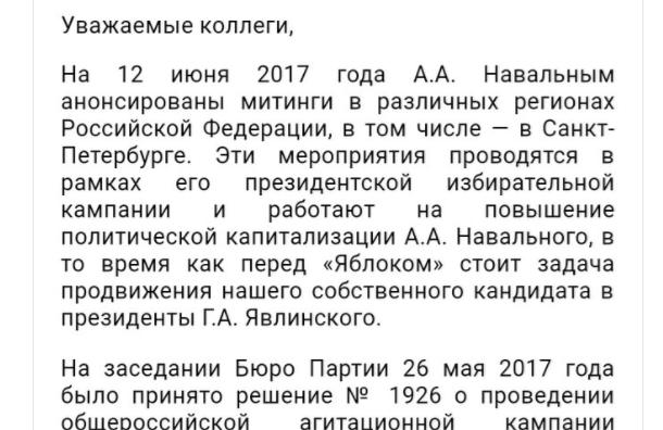 Петербургское «Яблоко» призывает неходить напротестные митинги