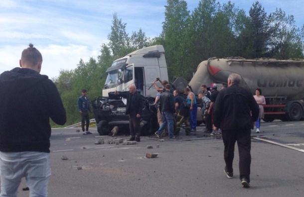 Легковушка влетела под цементовоз на Мурманском шоссе