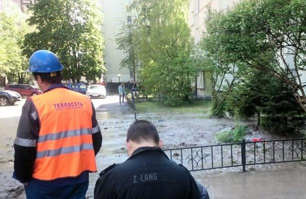 Фонтан мутной воды забил на улице Лени Голикова