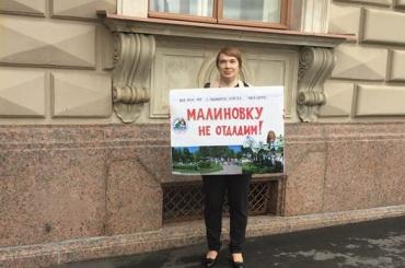 Защитники парка Малиновка пикетируют ЗакС