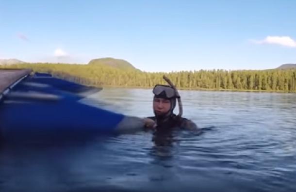 Кадры подводной охоты Путина за щукой попали в Сеть