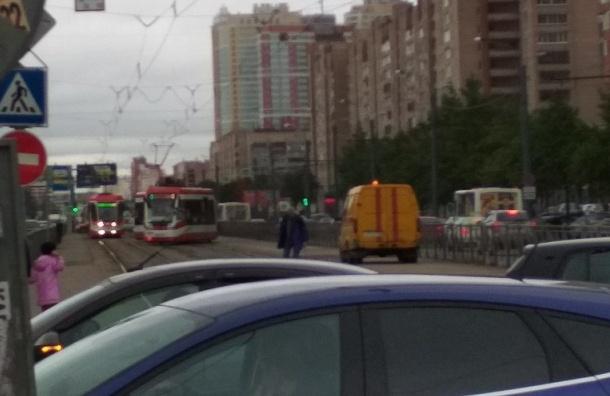 Трамвай сошел с рельсов на проспекте Просвещения