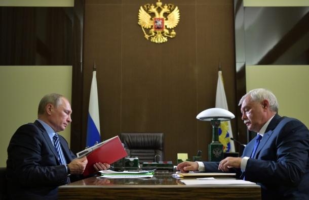 Путин иПолтавченко поспорили около макета «Зенит-Арены»