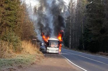 Рейсовый автобус сгорел на трассе Светогорск – Петербург