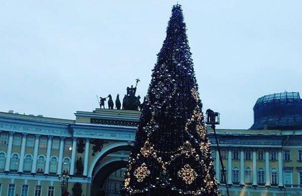 НаДворцовой площади собрали «скелет» основной новогодней елки города