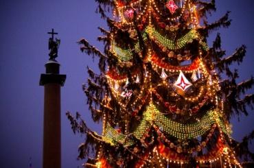 Главную праздничную ель Петербурга начали устанавливать наДворцовой