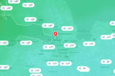 Погоду вПетербурге можно увидеть наодной карте