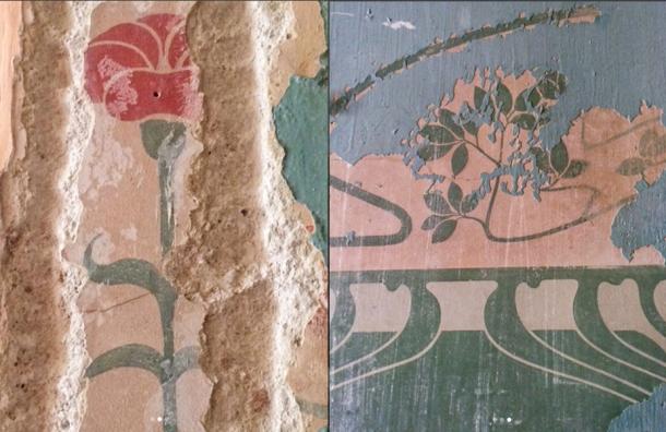 Впетербургской квартире вовремя ремонта под обоями отыскали стародавние росписи
