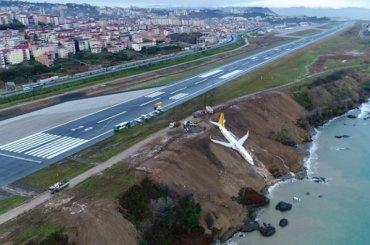 Летевший изАнкары самолет выкатился сосклона иостановился вдесятках метров отморя
