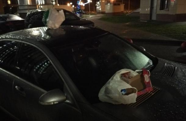 ВПетербурге жильцы дома обмазали фекалиями неправильно припаркованную иномарку