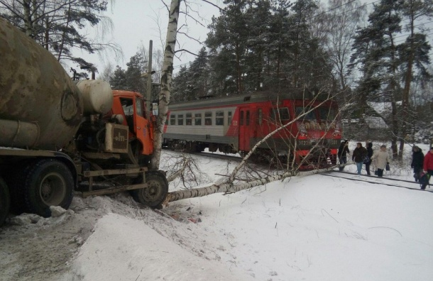 Бетономешалка сбила дерево перед электричкой наПриморском шоссе