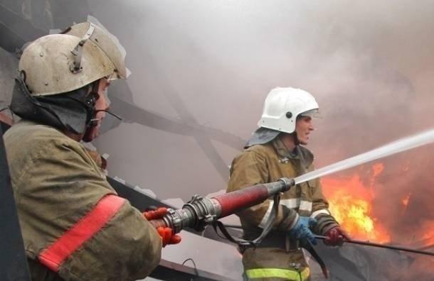 Пожарные тушили полыхающий гараж вПетербурге