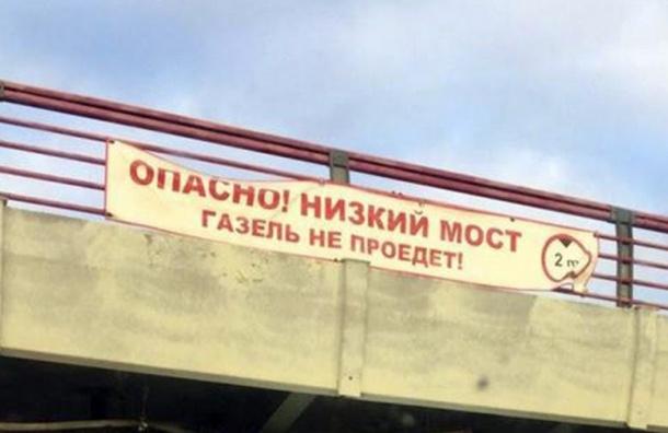 ВПетербурге 16-я газель врезалась вмост сплакатом «Газель непроедет»