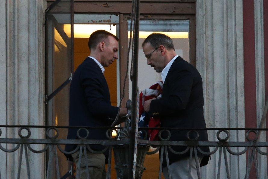 Американский флаг сняли сГенконсульства вПетербурге