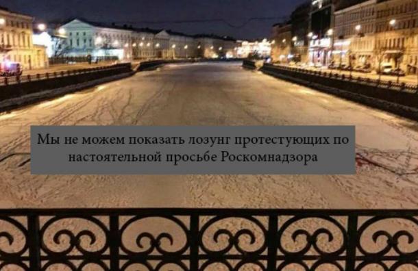 Роскомнадзор запретил петербургскому СМИ публиковать снимок снадписью «Против Путина»