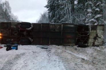 Следовавший вПетербург автобус опрокинулся вПсковской области