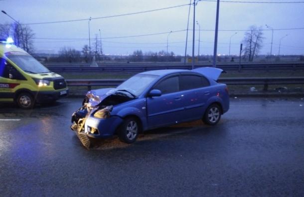 Лобовое столкновение наПулковском шоссе засняли очевидцы