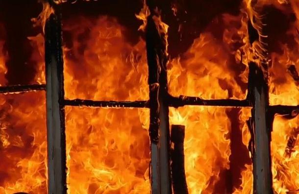 Крупный пожар тушат наНефтяной дороге