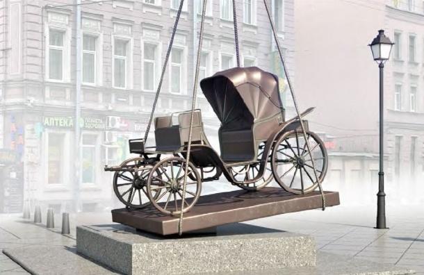 Памятник карете появился вцентре Петербурга