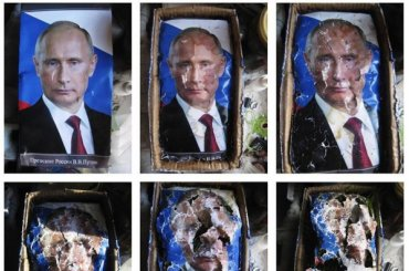 Петербурженке грозит арест запортрет Путина наПервомае