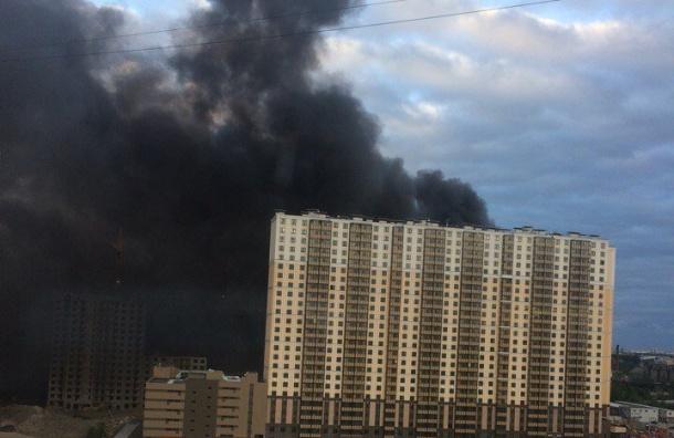 Сильный пожар полыхает назаводе «Пигмент» вПетербурге