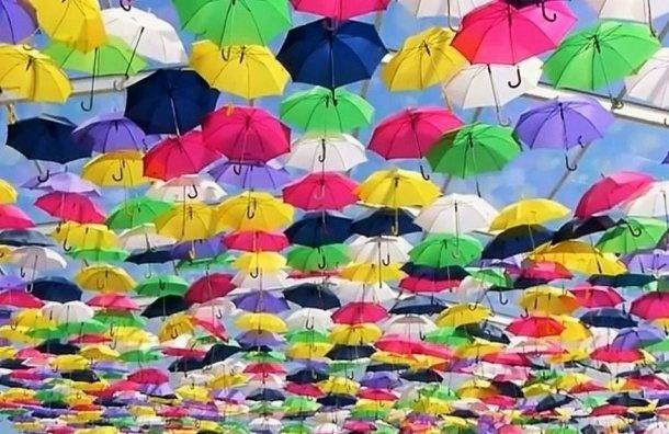 Петербуржцев просят заплатить заАллею парящих зонтиков