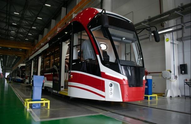 Новую модель трамвая представили вПетербурге