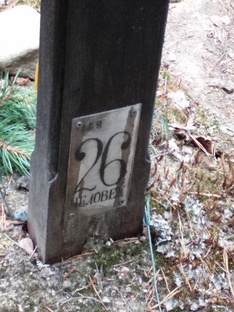 подножие  одного из крестов на местах захоронений на склоне Секирной горы. Соловки