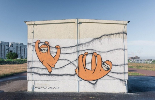 Нарисовавшего граффити ленивца петербуржца оштрафовали