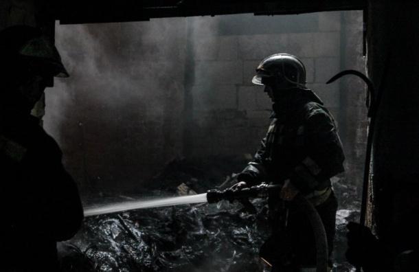 Огнеборцы ночью тушили сильный пожар наскладе стройматериалов