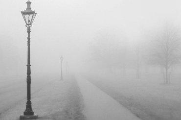 Густой туман накрыл улицы Санкт-Петербурга