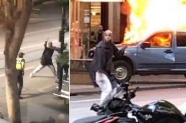 Мужчина поджег автомобиль инабросился налюдей сножом вАвстралии