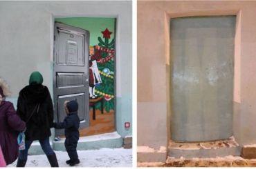 Новогоднее граффити вцентре Петербурга уничтожили коммунальщики