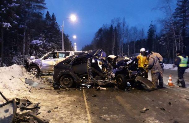 Женщина зарулем Ford устроила жуткую аварию наЗеленогорском шоссе