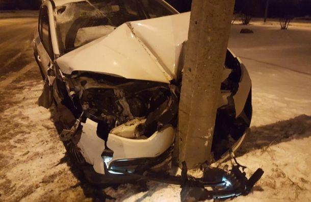 Renault врезался встолб наОзерковой