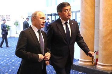 Президент Киргизии подарил Путину щенка тайгана иорловского скакуна