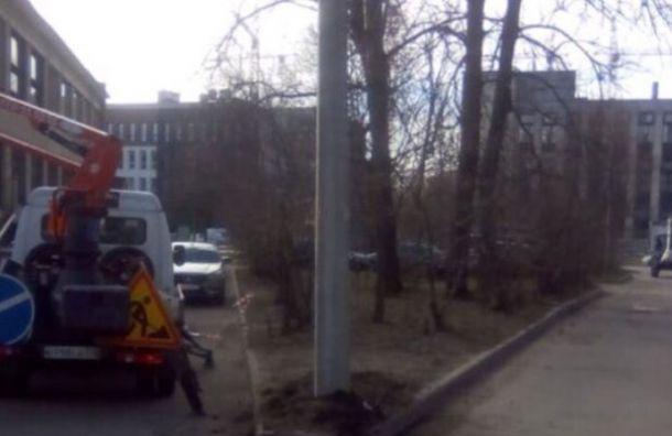 Столб линии электропередач заменили после публикации всоцсетях