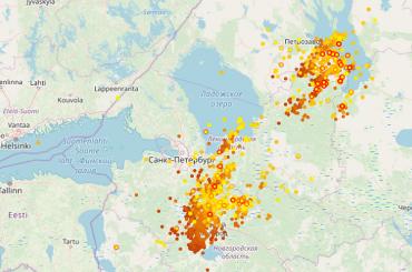 Мощный грозовой фронт приближается кПетербургу