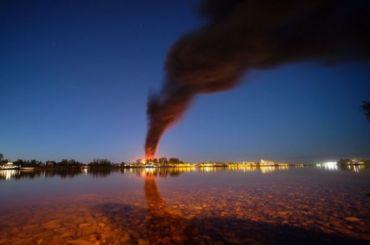 Ночью произошел крупный пожар наскладе ГСМ вЛенобласти