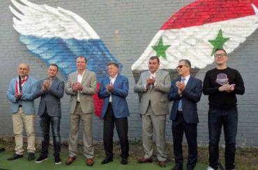 Граффити, посвященное дружбе России иСирии, появилось вПетербурге