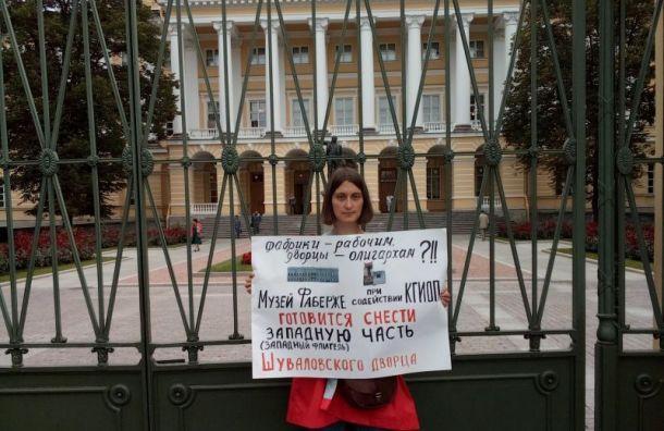 Активисты проводят пикеты уСмольного взащиту Шуваловского дворца