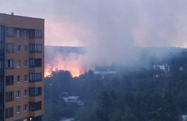 Рядом сМО №36 «Ржевка» тушат сильный пожар